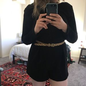 Lucca Long Sleeve Black Romper